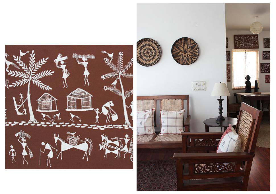 warli, tribal art, cane, teak, dining room, living room, home