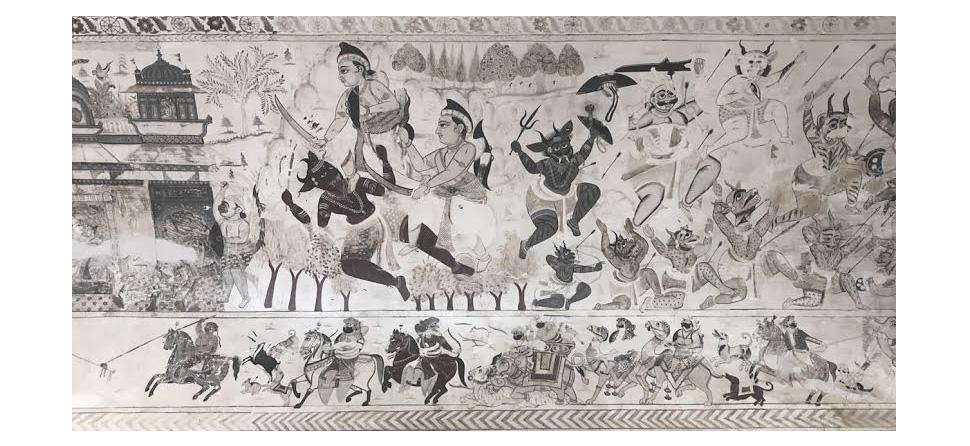orchha, frescoes, india, art