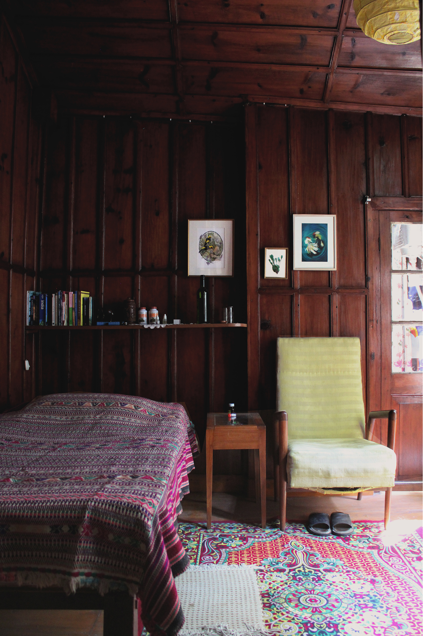 mountain homes, indian interiors, natural design, outdoors, eco friendly design, green design, landour house , wood cottage, wood panelled room india