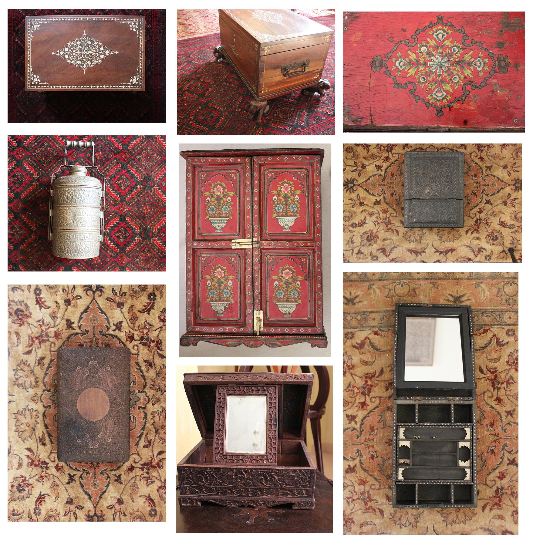 indian boxes, hand made, carved, inlaid, indian handicrafts, elegant style, shivani dogra, interior design, gurgaon