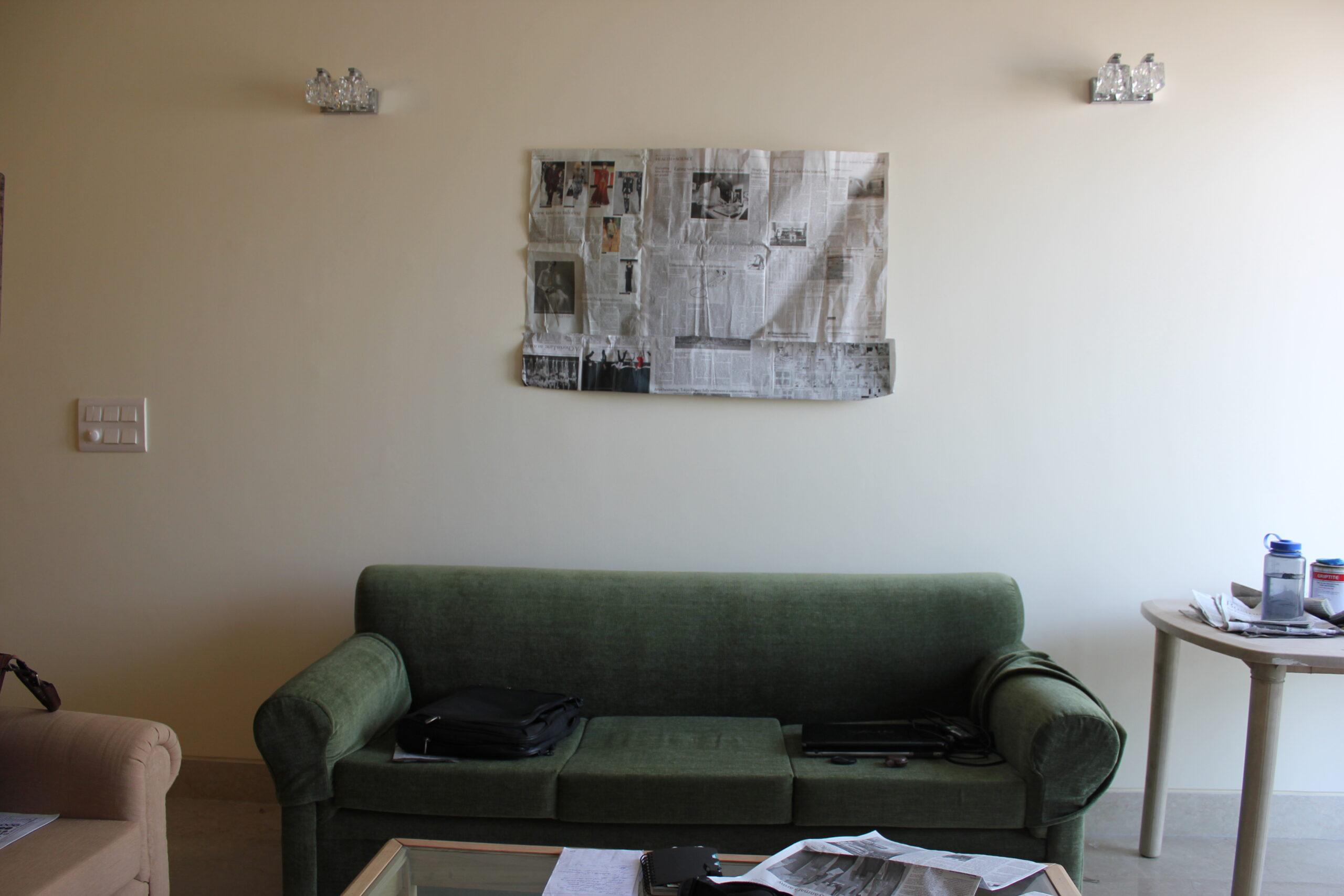 green sofa, delhi, interior deign, natural interiors, shivani dogra, art placements, wall, botanical prints, yellow and green, indoor plants