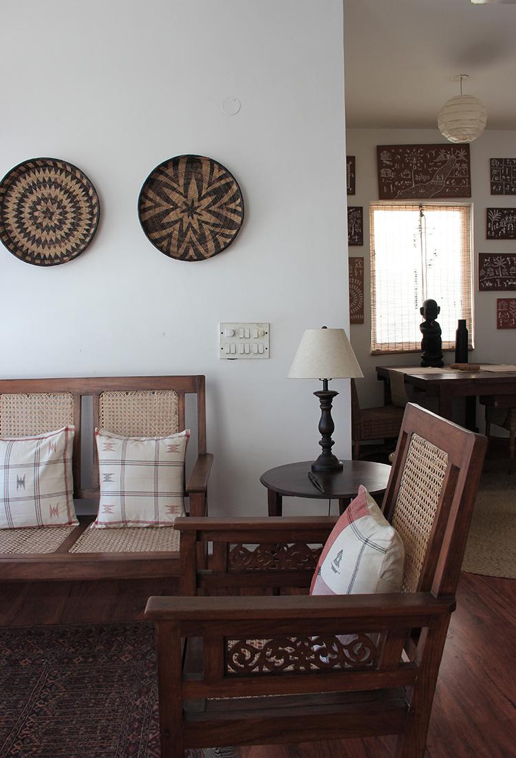 barsati, delhi, charming, interior design, shivani dogra, indigenous, vernacular, real estate delhi, terrace, cane sofa, teakwood furniture, handmade